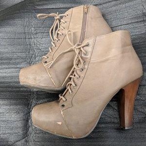 Shoes - Beige Lace up Heels